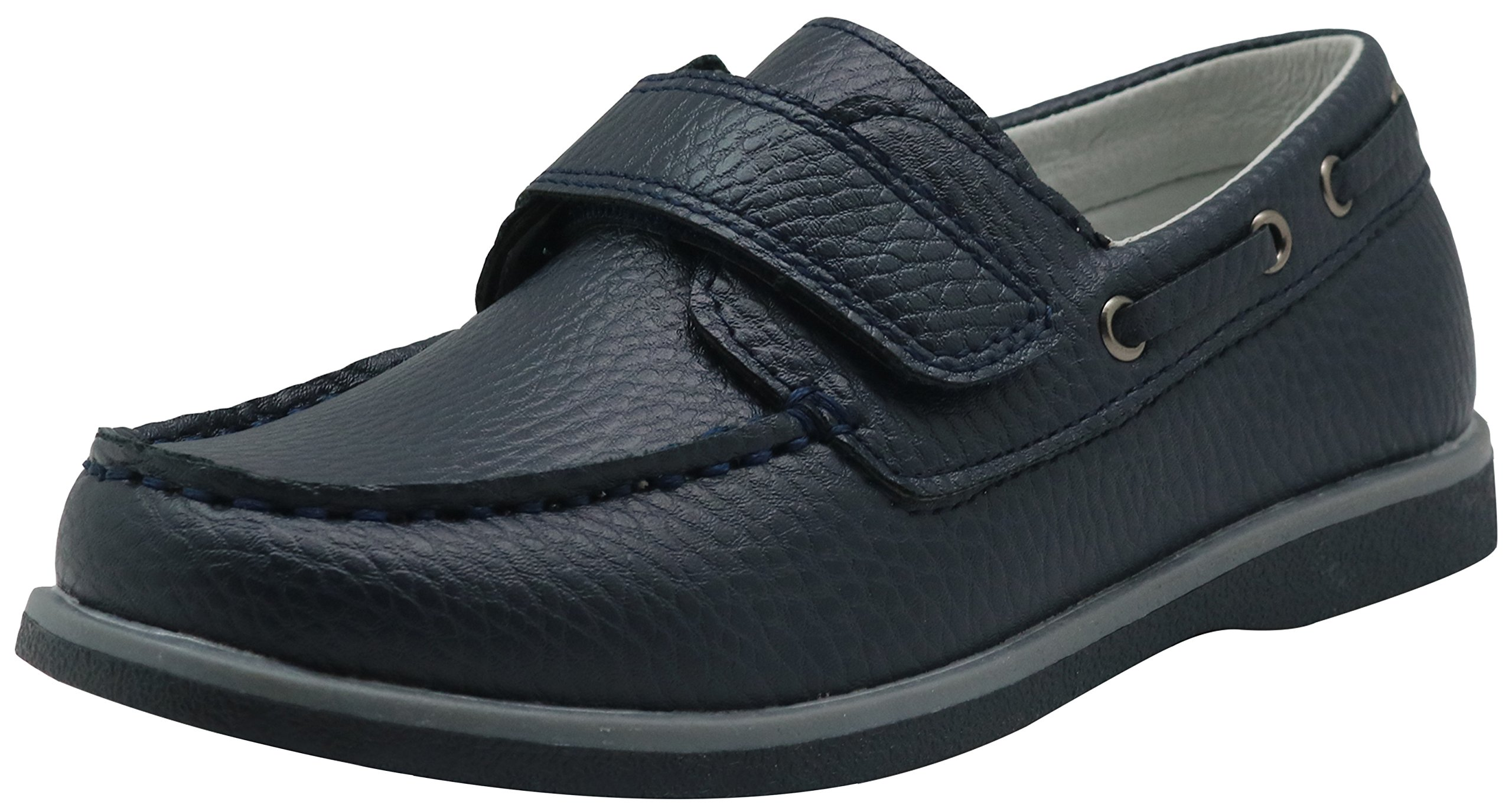 Apakowa Kids Boys Loafers Casual Slip On Boat Shoes with Strap (Toddler/Little Kid/Big Kid) (Color : Navy, Size : 11 M US Little Kid)