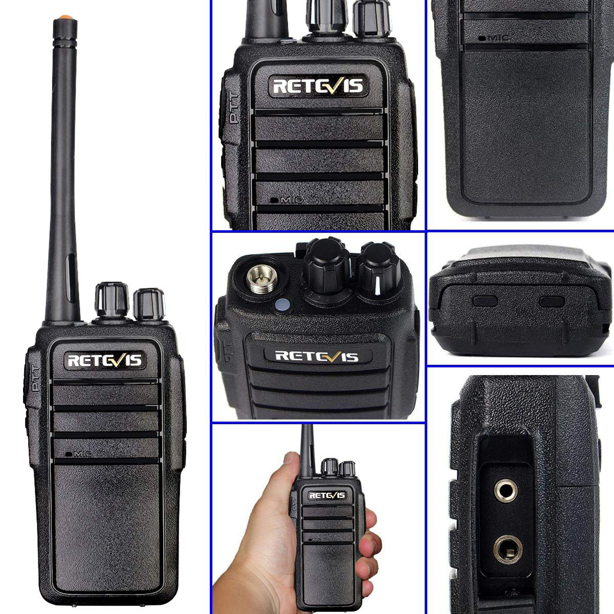 Retevis RT21 Two Way Radio Rechargeable 2 Way Radios UHF FRS 16CH VOX Scrambler Emergency Security Long Range Walkie Talkies with Secret Service Earpiece (10 Pack) by Retevis (Image #6)