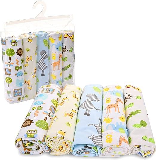 New 4 Gerber Flannel Receiving Blankets Baby Shower Safari Theme