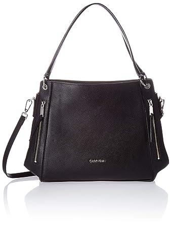 a7b254fce09 Calvin Klein Melanie Pebble Leather Slouchy Zip Face Hobo, Black/Silver