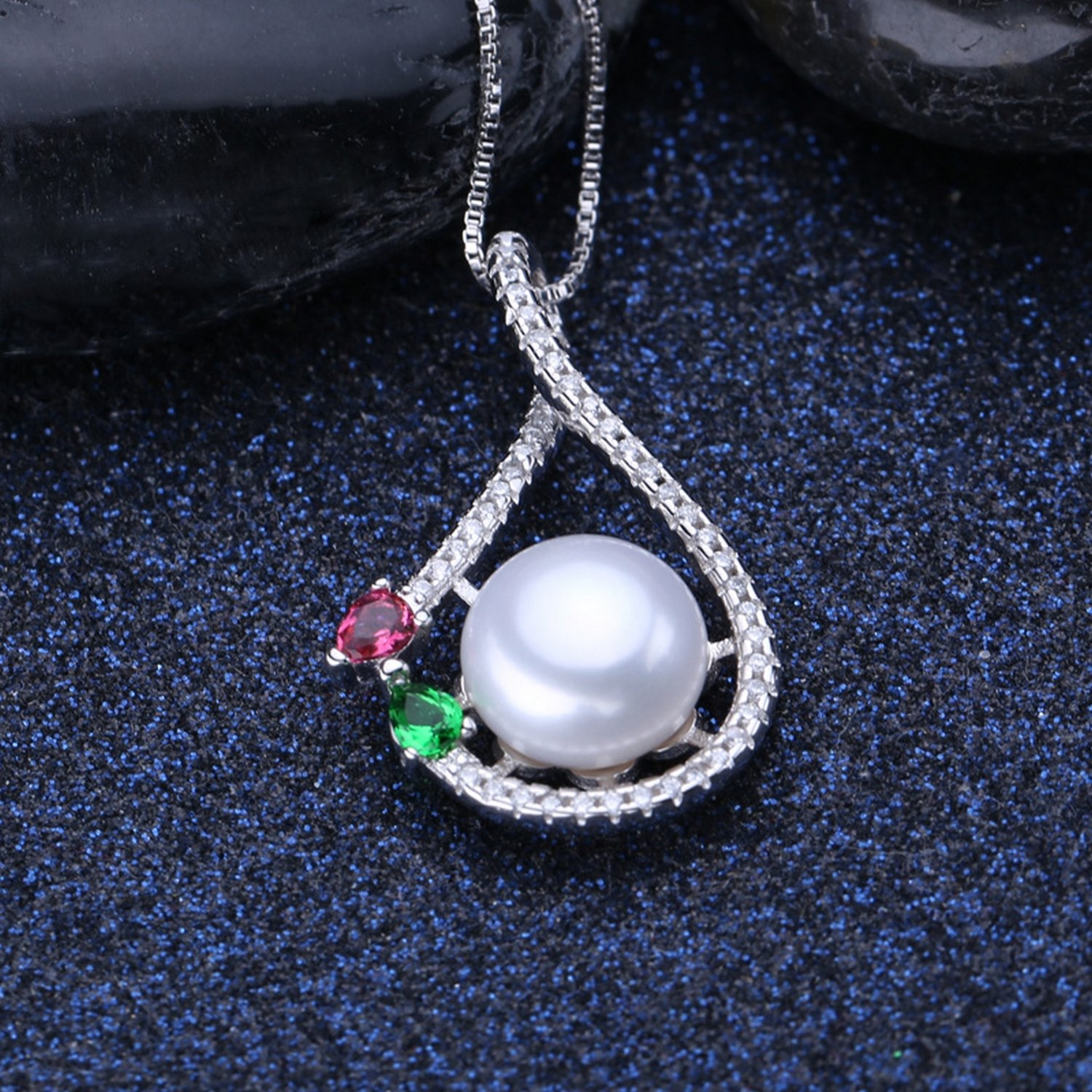 CS-DB Jewelry Silver Korean Style Pearl Stone Chain Charm Pendants Necklaces