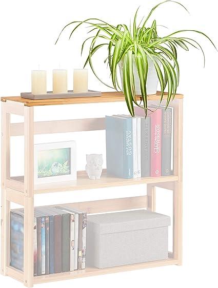 relaxdays Estante apilable, Extensible, Mueble de salón & Dormitorio, De pie, Abierto, Bambú, 60x20 cm, Marrón, Diseño B: cierre de estantería