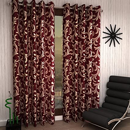 Home Sizzler 2 Piece Eyelet Polyester Door Curtain - 7ft, Maroon Curtains at amazon