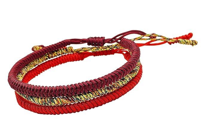 sobornar auténtico amplia selección de colores y diseños color rápido Reclaiming Zen Pulsera Tibetana Cuerda Budista Hecha a Mano Nudo de la  Suerte (Conjunto de 3 - Rojo, Rojo Intenso, Multi-Dorado)