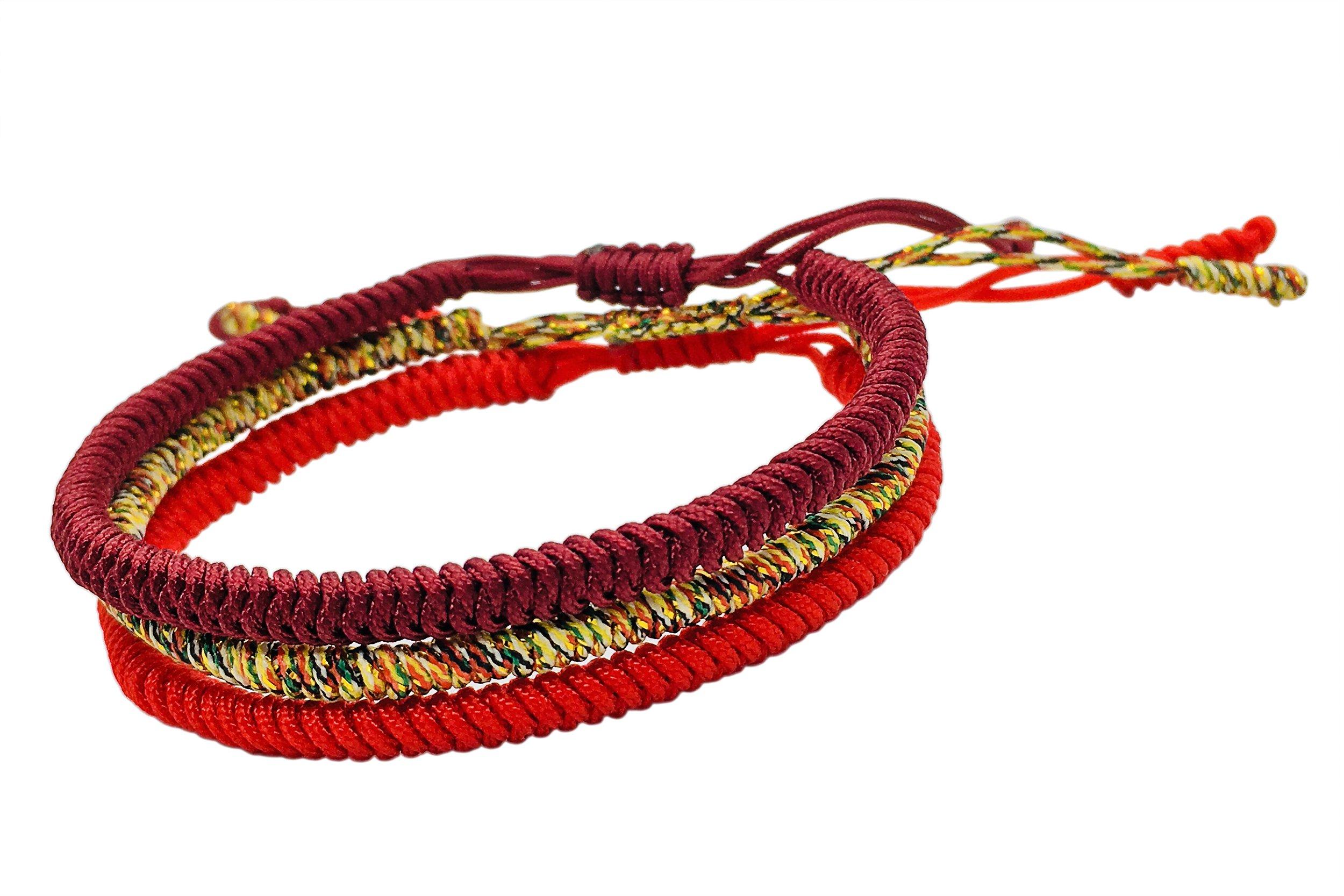 Tibetan Buddhist Handmade Lucky Knot Rope Bracelet (Set of 3 - Red, Deep Red, Multi-Golden)