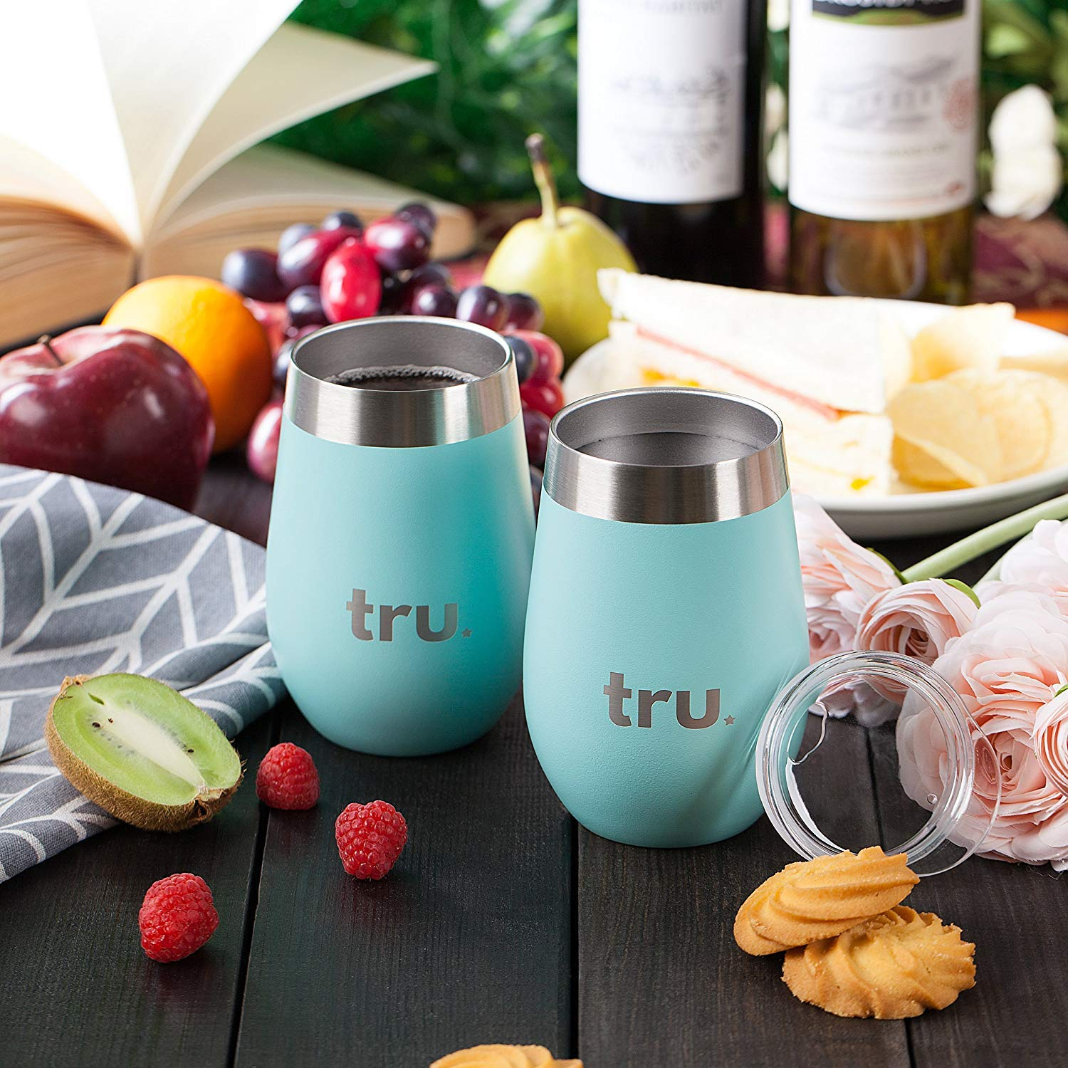Outdoor Vacuum Insulated Wine Tumblers with Lids (Set of 2), Stainless Steel Glasses 12oz - Double Wall Stemless Metal Cup - Travel, Camping, Lightweight, Unbreakable, Portable, BPA Free by Tru Blu Steel (Image #6)