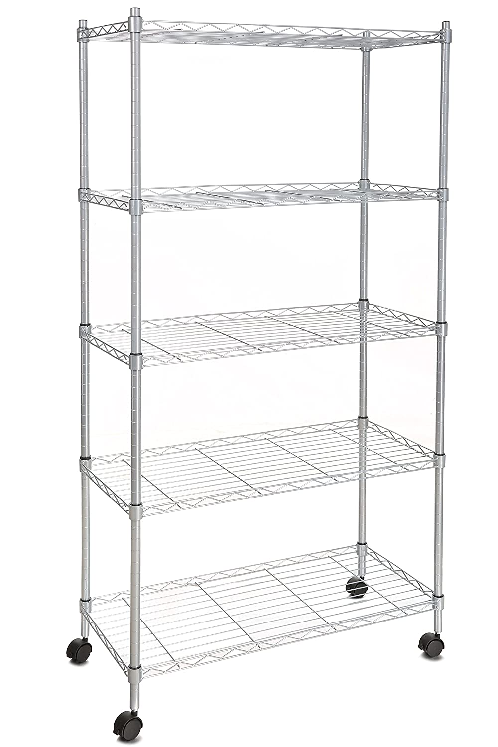 BATHWA Wire Shelving 5-Shelf Metal Shelf Unit with Wheels for Kitchen Bedroom Garage Anywhere You Want, Silver