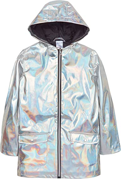 Metzuyan Girls Shiny Iridescent Rain Coat Hood Silver