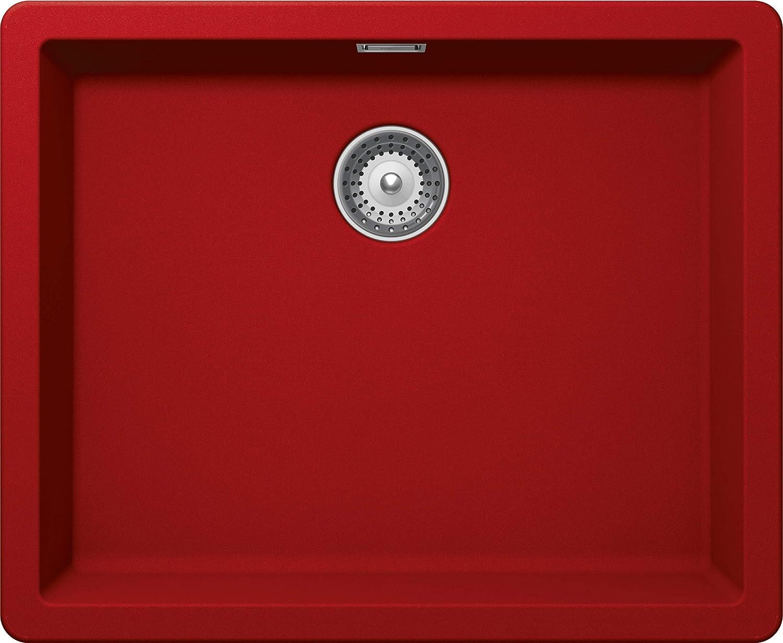 SCHOCK kompakte K/üchensp/üle 55,6 x 45,6 cm Greenwich N-100L Bronze CRISTADUR braune Granitsp/üle ohne Abtropffl/äche ab 60 cm Unterschrank-Breite