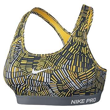 Nike Pro Clsc Pad Tidl Mlt Bra - Sujetador para mujer, color mostaza/gris/blanco, talla L: Amazon.es: Zapatos y complementos