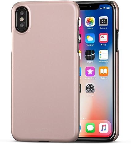 Coque iPhone XS/Case iPhone X Rose Doré - CASEZA Rio Housse Arrière Ultra Mince avec Finition en Caoutchouc Mat - Solide Haut de Gamme-Apparence et ...