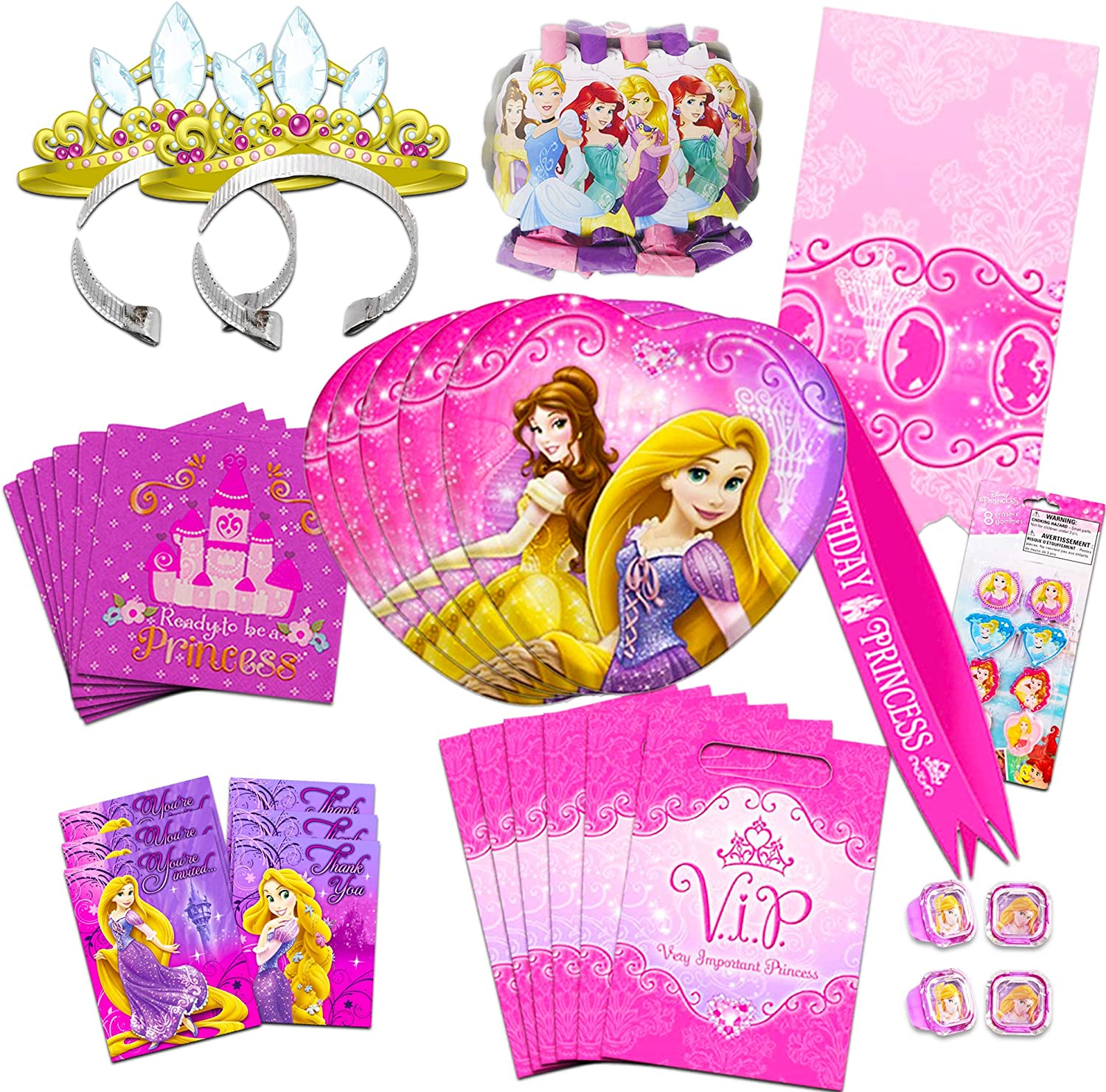 PRINCESS INVITATIONS AND PARTY BAGS COMBINED 10 PACK