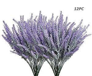 Homcomoda Artificial Lavender Flowers Bouquet 12 Bundles Plastic Purple Fake Lavender Plant for Wedding Home Decor Office Garden Patio Decoration