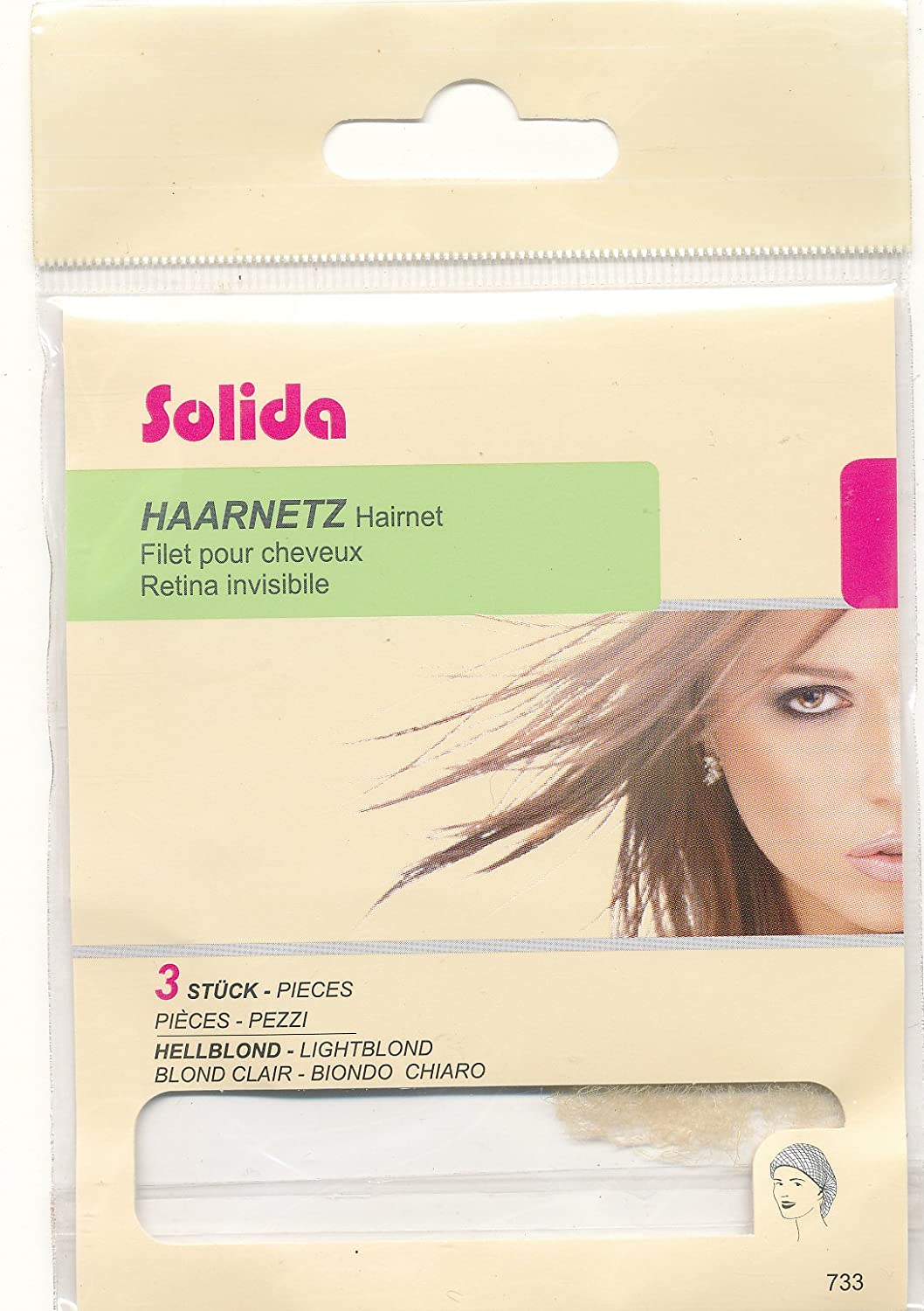 Pack of 3 Solida Hair Net Light Brown