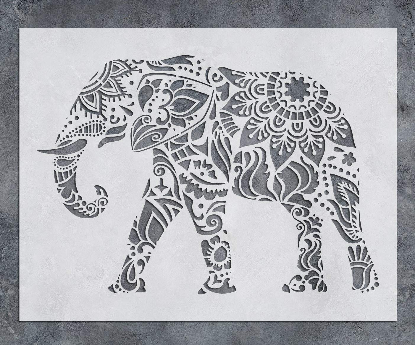 GSS Designs Elephant Wall Decor Stencil - Mandala Elephant Stencil (12x16 Inch) Laser Cut Painting Stencil - Floor Wall Tile Fabric Wood Stencils -Reusable Template for Wall Decals Transfer(SL-021) by G GSS Designs