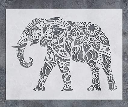 Gss Designs Elephant Wall Decor Stencil Mandala Elephant Stencil 12x16 Inch Laser Cut Painting Stencil Floor Wall Tile Fabric Wood Stencils