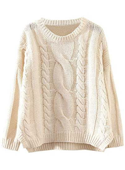 a5a728fd62 Futurino Women s Drop 3 4 Sleeve Cropped Top Side Split Cable Knit Sweater  Jumper (
