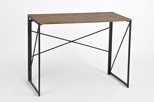 Dark Coffee Black Metal Frame Computer Laptop Writing Study Desk Modern Home Office with Easy Fold