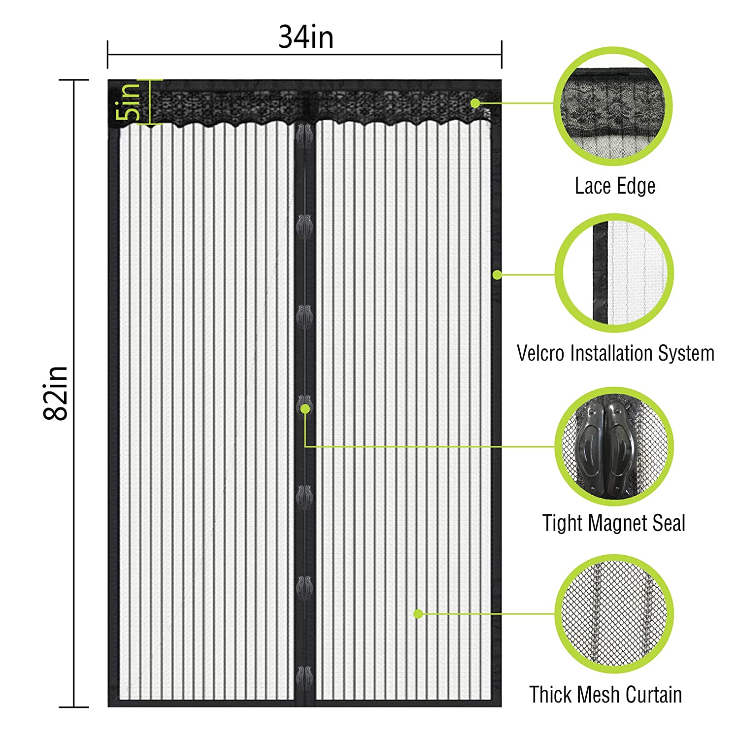 Magnetic Screen Door with Heavy Duty Magnet Curtain with Mesh and Full Frame Screens,Magic Patio Screen for Doors Size Up to 34x 82