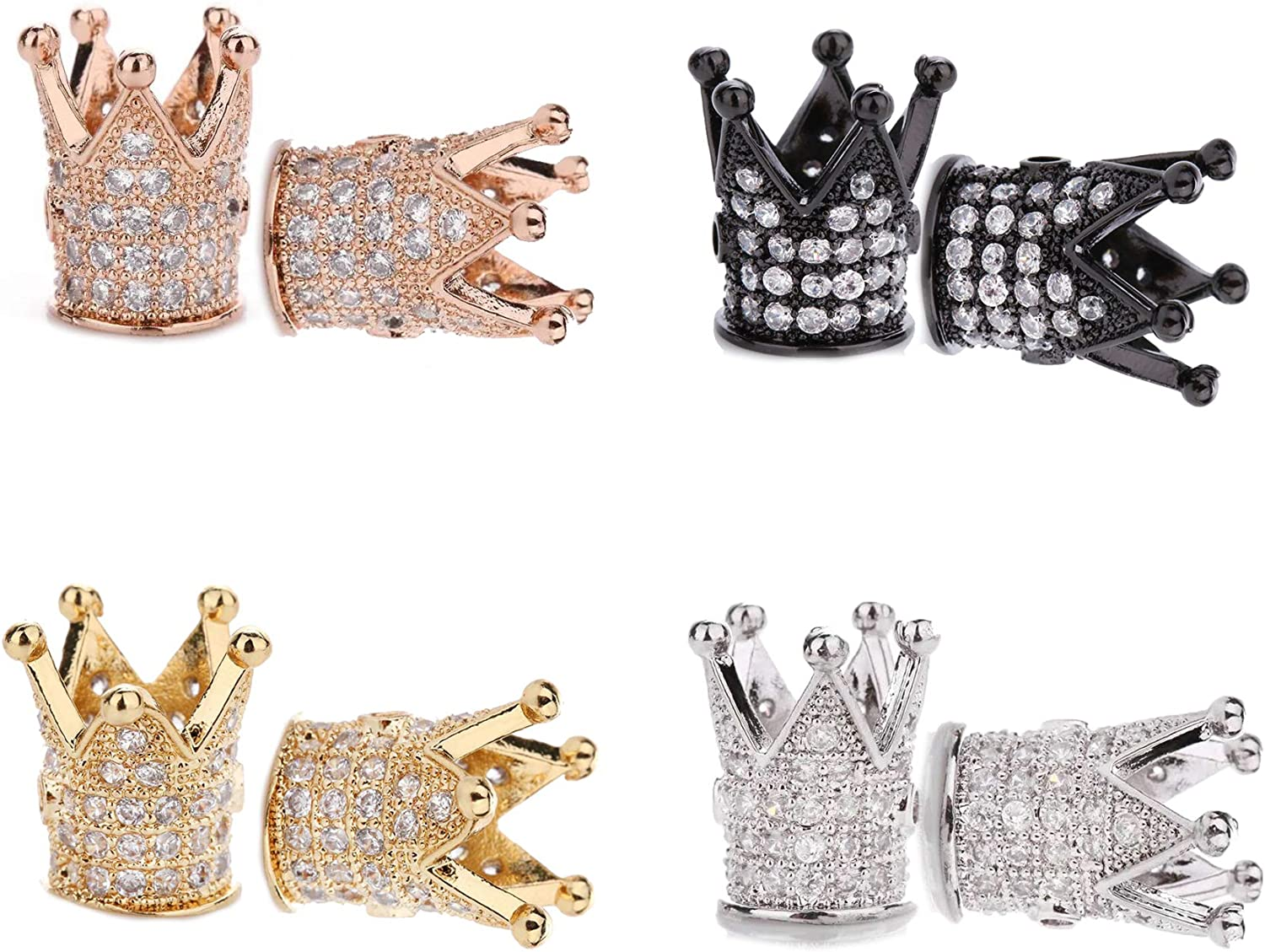 King Crown Charm 8pcs King Crown Beads Mixed Color Brass Micro Pave Black CZ Loose Beads for DIY Black CZ Loose Beads