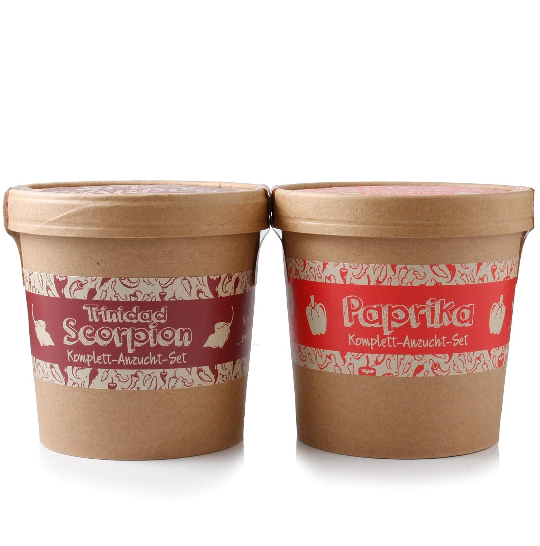 Spicy Garden - Chili-Pflanzen - Anzucht-Set mit Paprika und Trinidad Scorpion - Pflanzen-Kit - Einstieg in die Planzen-Zucht - ideal zum Verschenken PepperPark GmbH