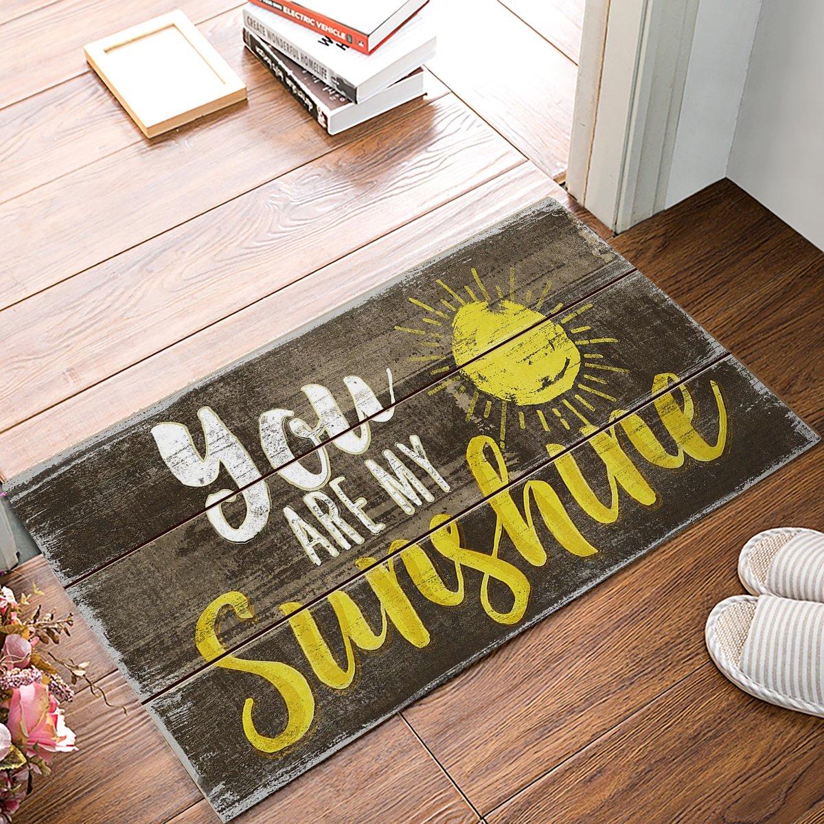SIGOUYI Funny Welcome Door Mats Non-Slip Rubber Entrance Rug Floor Mats Shoe Scraper Doormat for Front Door/Indoor 32x20inch You are My Sunshine Rustic Old Barn Wood