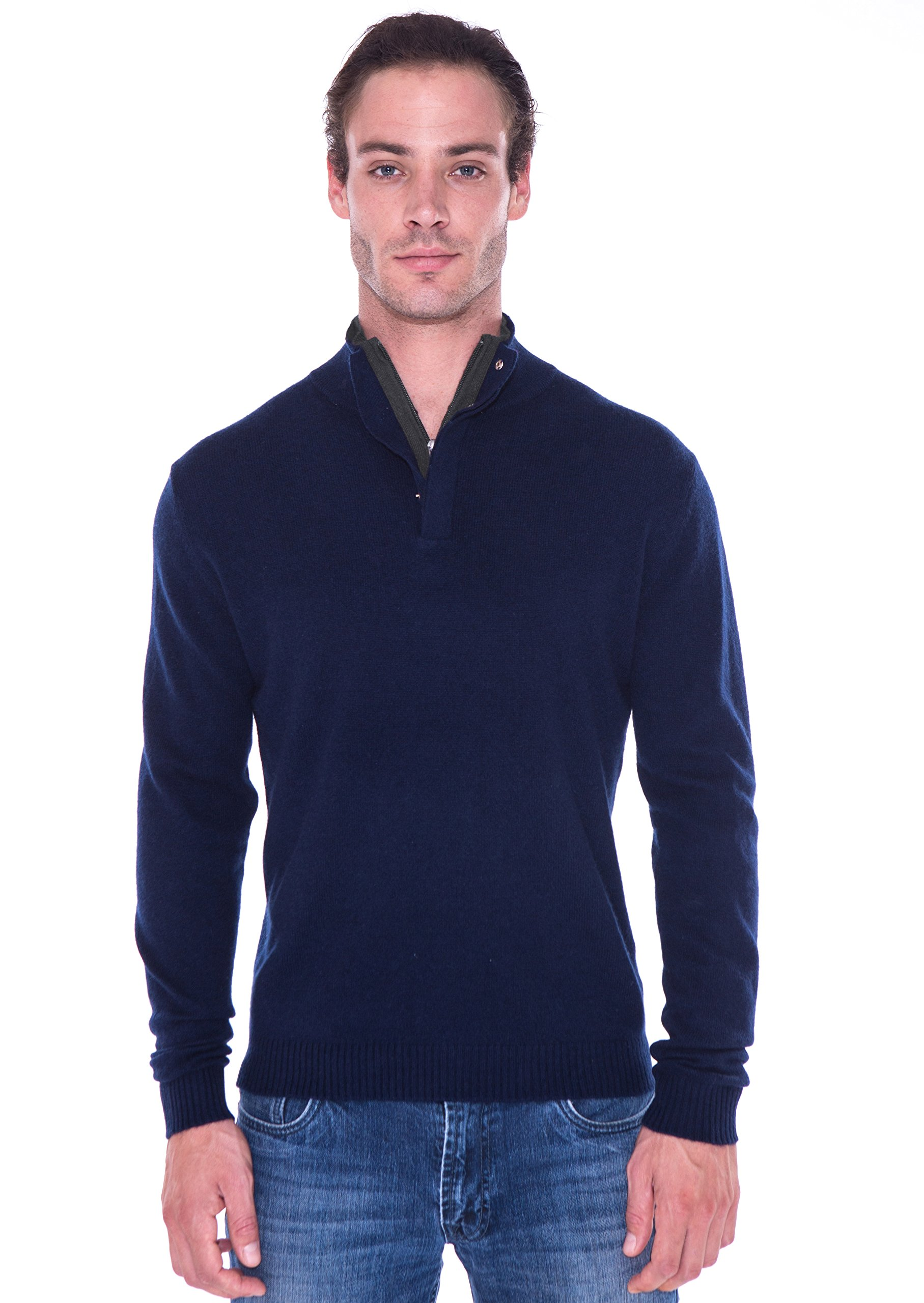 cashmere 4 U Men's 100% Cashmere Sweater Zipped Collar With Elbow Patches by (X-Large, Dark Navy With Gris Moyen Patch)