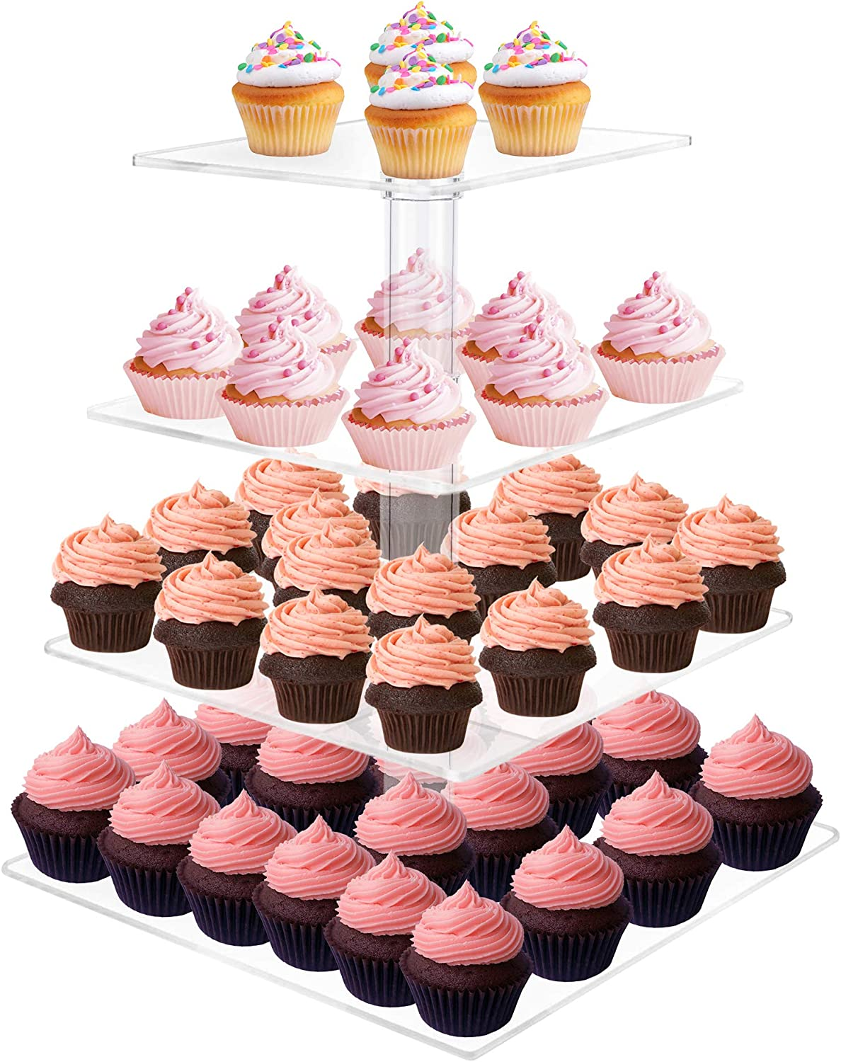 Utenlid 4-Tier Square Stacked Party Cupcake and Dessert Tower - Clear Acrylic Cake Stand