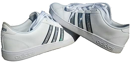 The Bling Boutique Women s Bling Adidas Neo Baseline Shoes White Black Stripes Authentic Swarovski Crystals New in Box White All 12 Stripes Cheap Sale