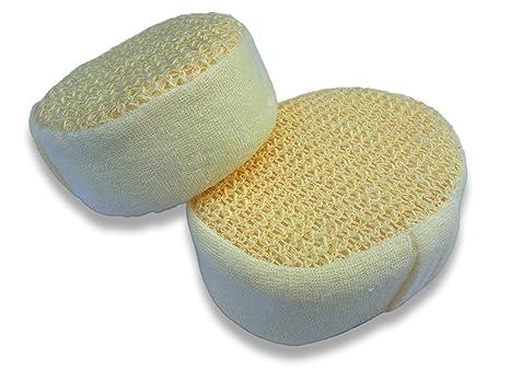 Pack de 2 esponjas de baño de cáñamo para el cuerpo de 14cm calidad premium –