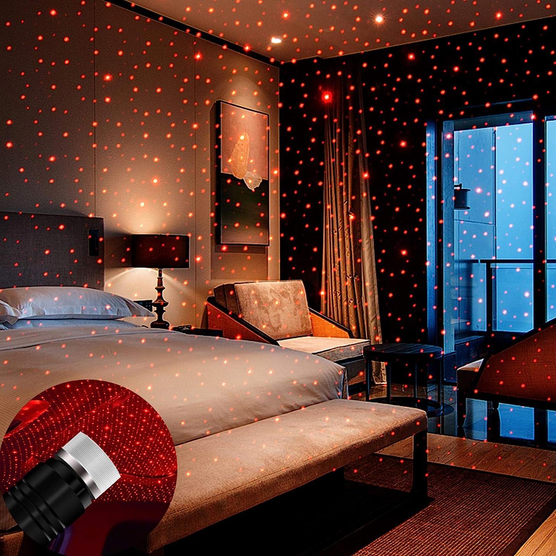 USB Night Light, BAILONGJU Star Projector Night Light, Adjustable Romantic red Interior Car Lights, Bending Freely Portable Auto Roof Lights Decoration for Car, Ceiling, Bedroom, Party