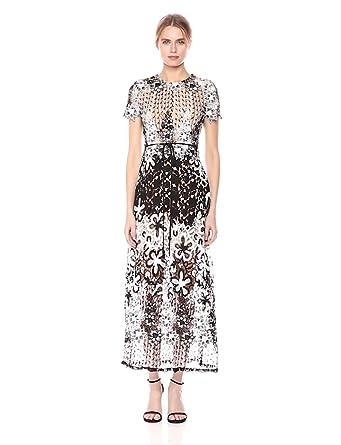 5f3655f0bb3 ML Monique Lhuillier Women s Mixed Lace Midi Cocktail Dress