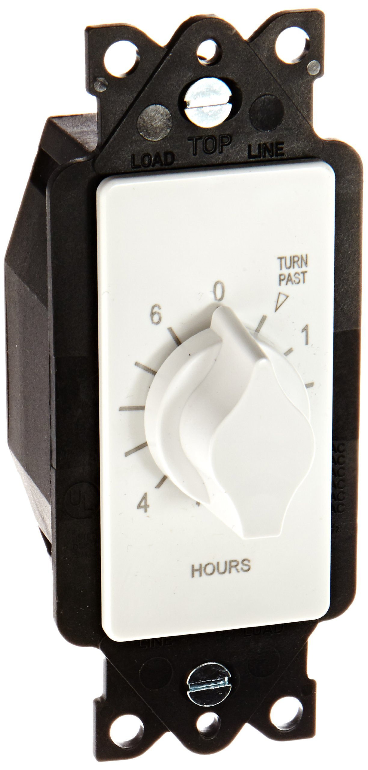A Series Springwound Auto Off In-Wall Time Switch, 6 Hours Timer Length, White