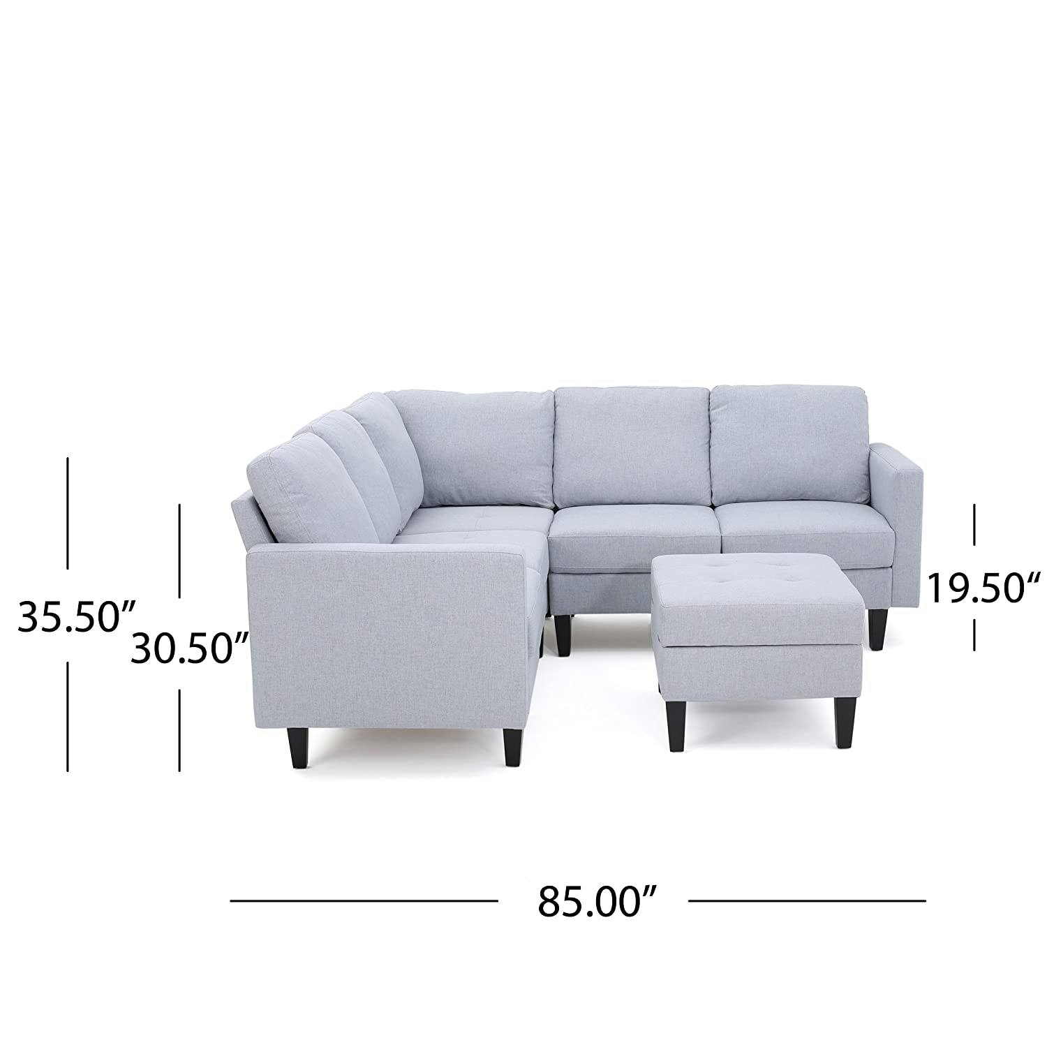 Amazon Bridger Light Grey Fabric Sectional Couch with Ottoman