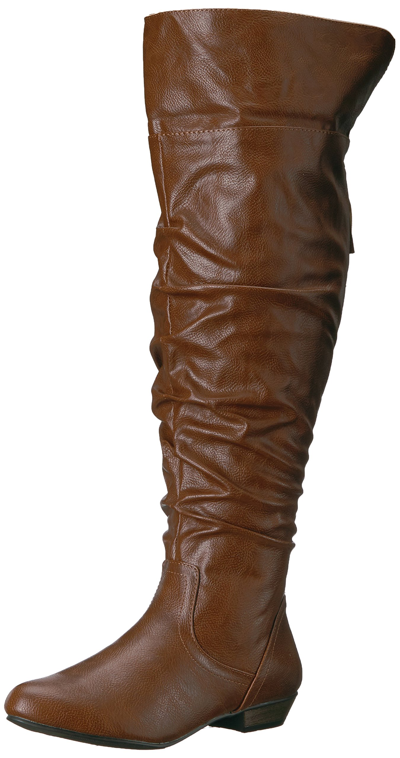 Fergalicious Women's Rookie Wide Calf Slouch Boot, Cognac, 7.5 M US