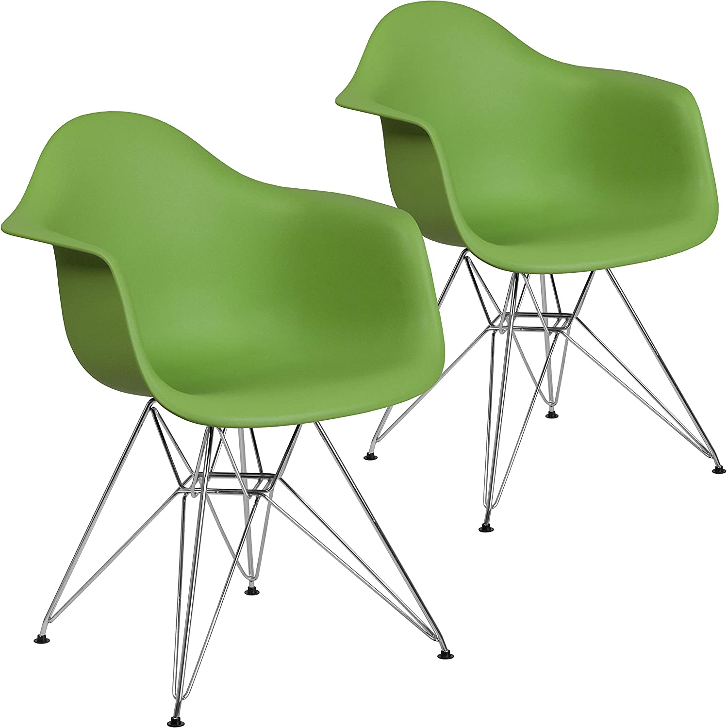 Flash Furniture 2 Pk. Alonza Series Green Plastic Chair with Chrome Base