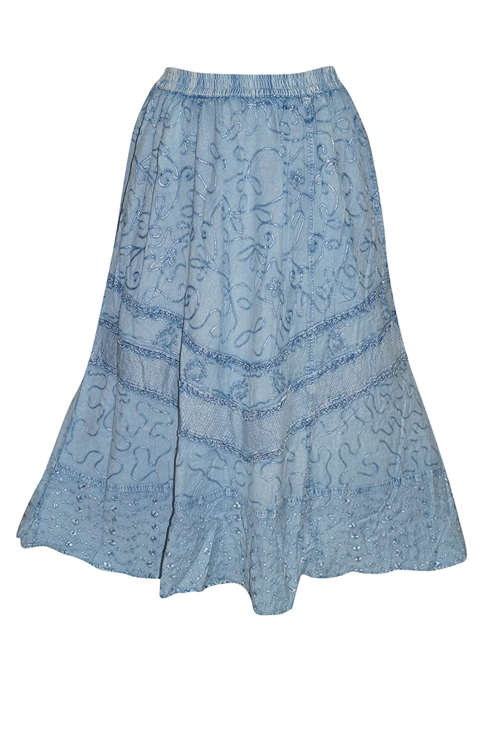 Mogul Interior Gypsy Long Skirt Blue Embroidered Bohemian For Women S/M
