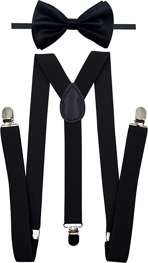 USA Dark Brown Suspender and Bow Tie Set for Adults Men Women Champagne Gold