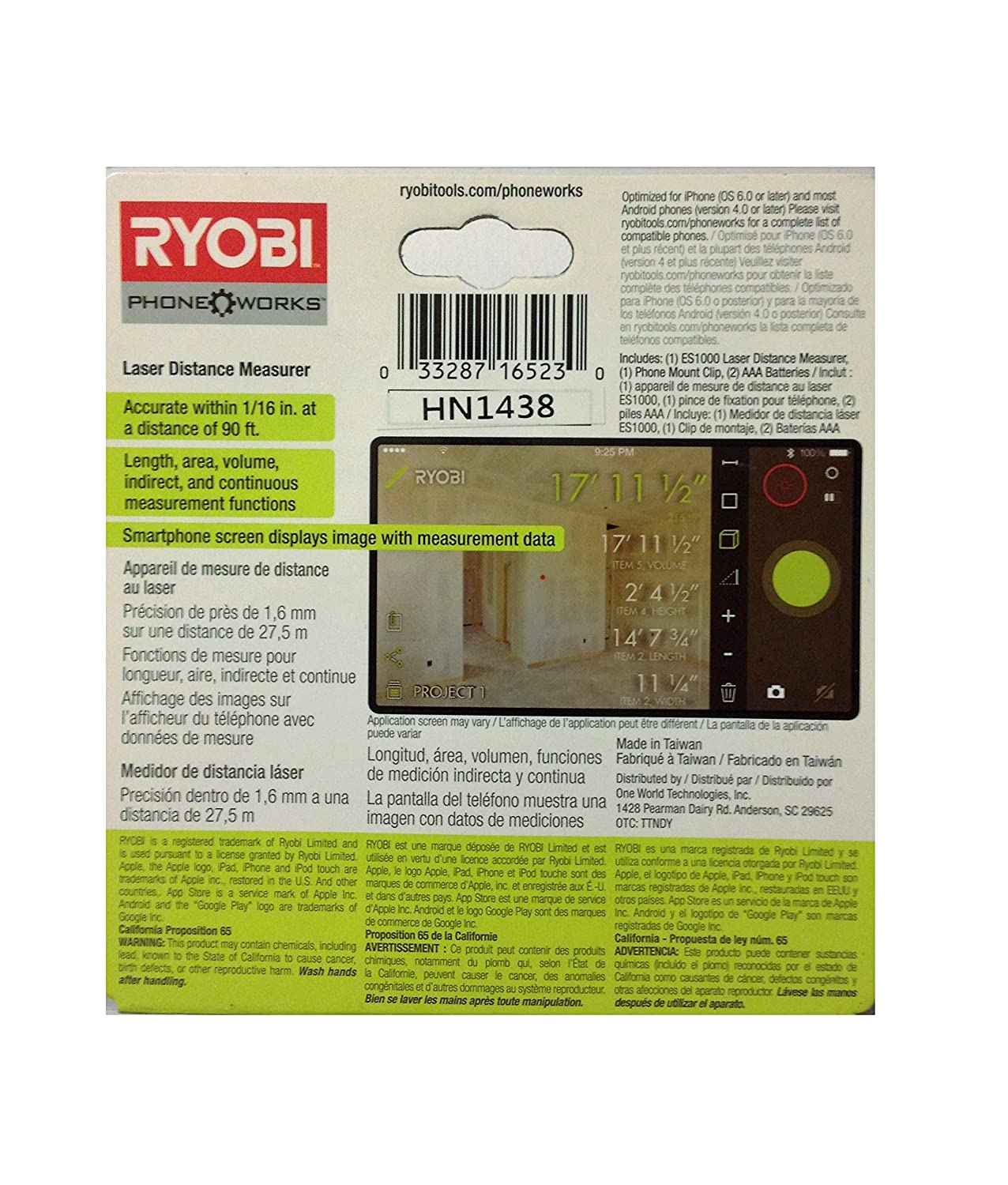 Amazon.com: Ryobi ES1000 Phone Works Laser Distance Measurer: Home Improvement