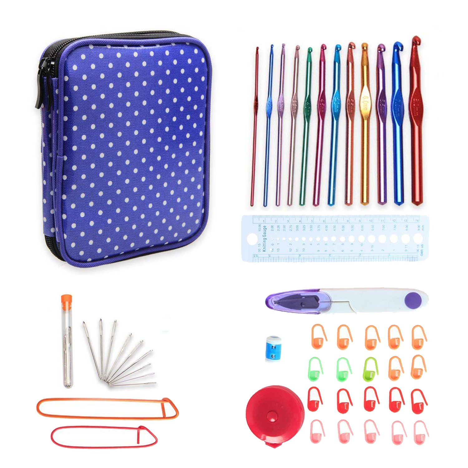 Teamoy Aluminum Crochet Hooks Set, Crochet Hook Organizer Case with 12pcs 2mm to 8mm Aluminum Hooks and Complete Accessories, All in One Place and Easy to Carry, Purple Dots