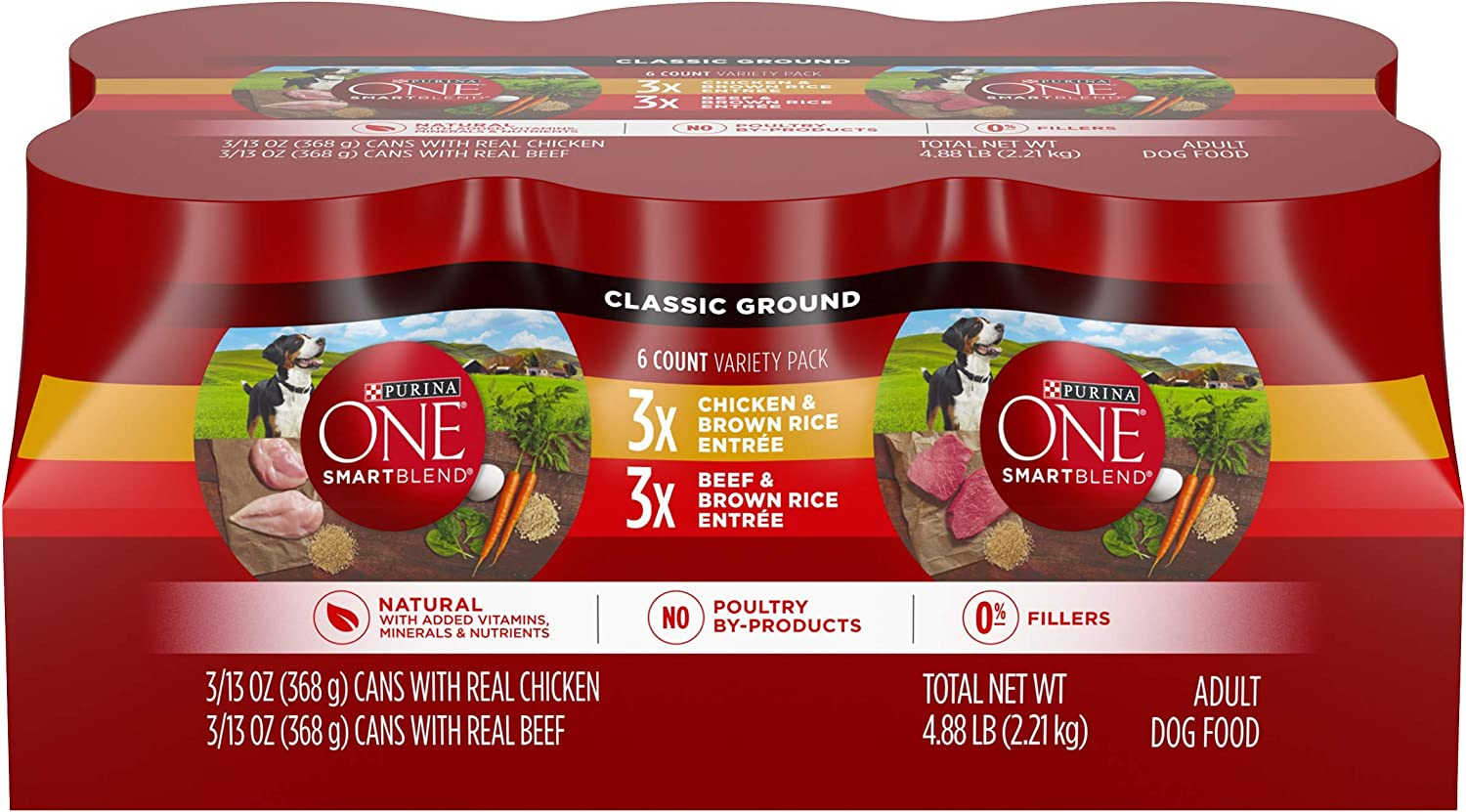 Purina ONE Natural Pate Wet Dog Food Variety Pack, SmartBlend Chicken Entree & Beef Entree - (6) 13 oz. Cans