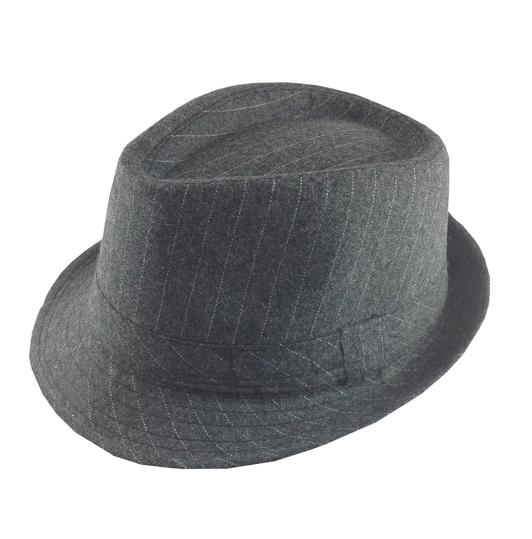 Amazon.com  Dark Charcoal Grey with Pinstripe Fedora Hat  Clothing 0e53dff8ed2