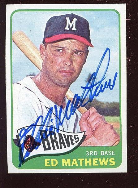 1965 Topps Baseball Card 500 Ed Mathews Autographed Exmt