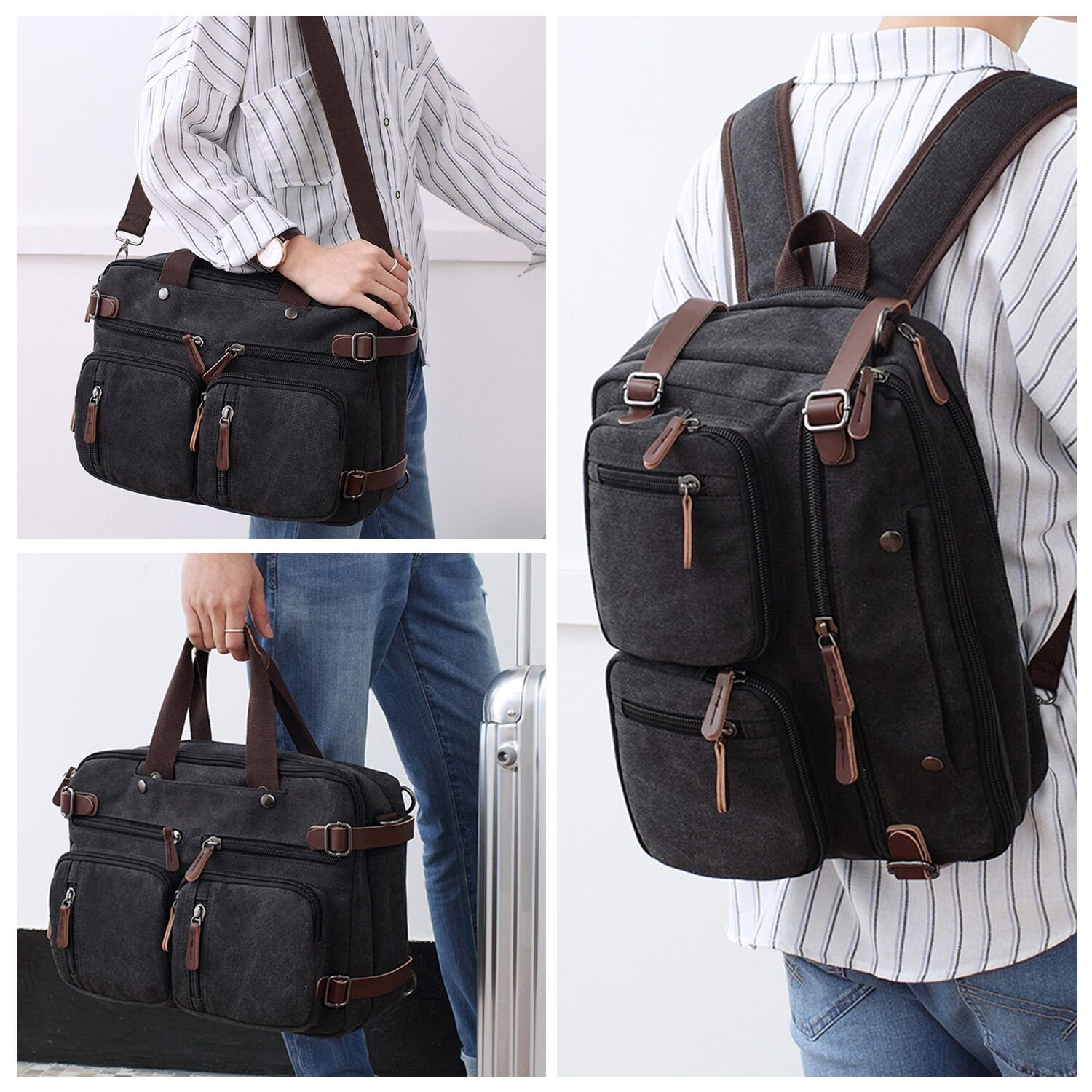 Fresion Retro Canvas Backpack Hybrid Laptop Messenger Bag Casual Bookbag for Teens School Hiking Travel Camping fit 14\