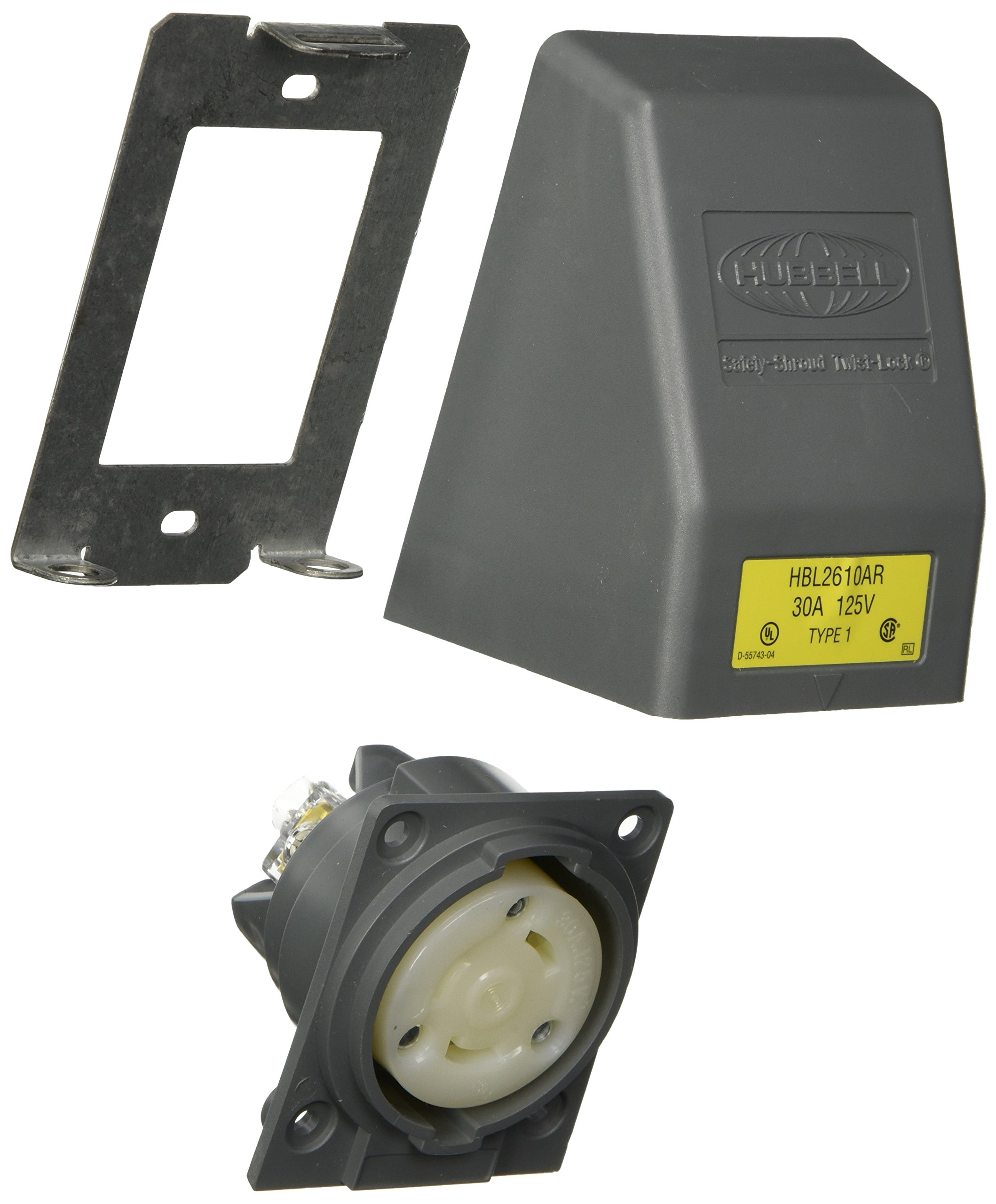Hubbell HBL2610AR Locking Safety Shroud Receptacle, L5-30R, Angled Surface Mount, Gray