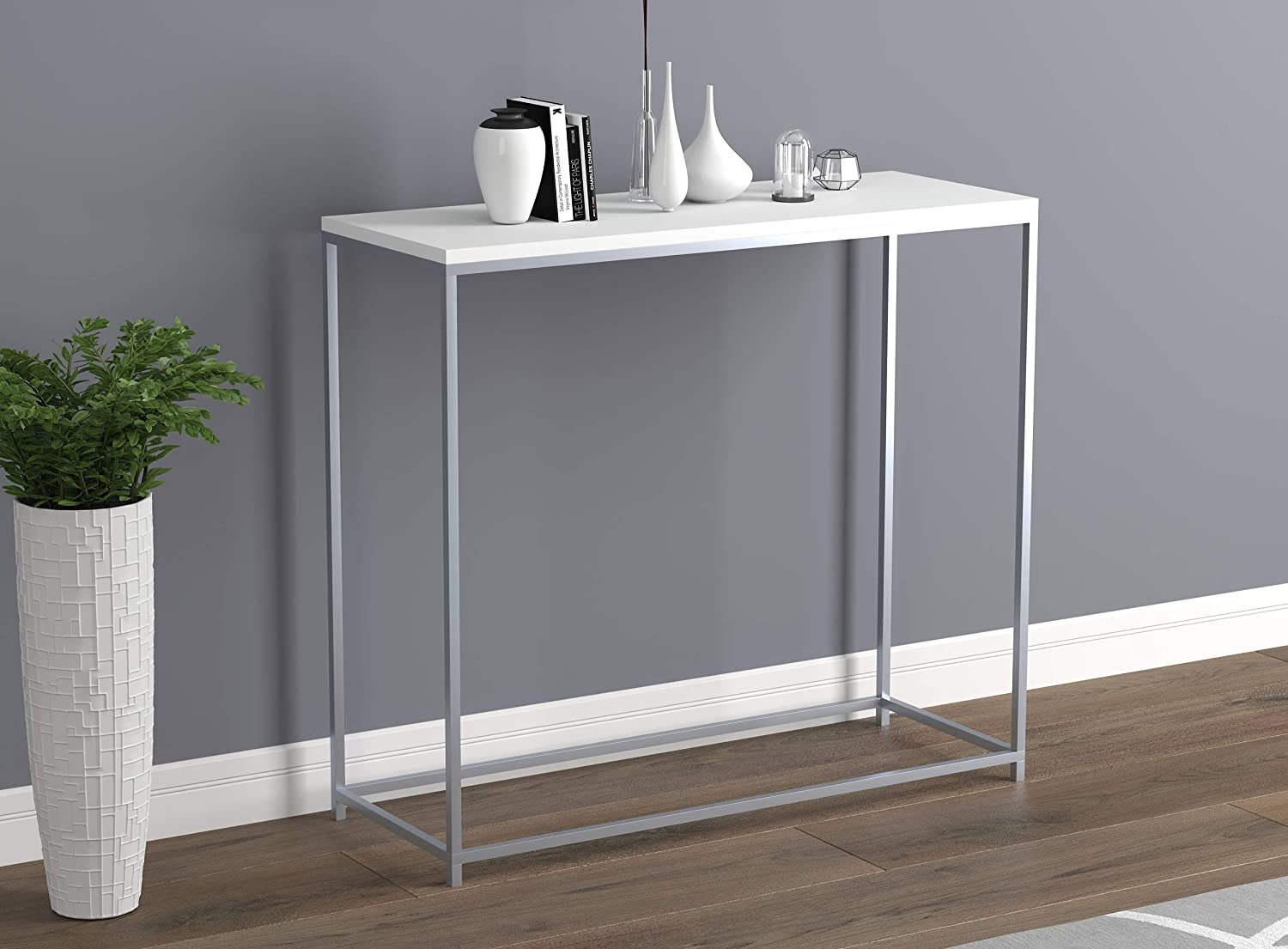 Safdie /& Co 81039.Z.01 Entryway Couch Accent Wall White with Silver Metal Console Sofa Table