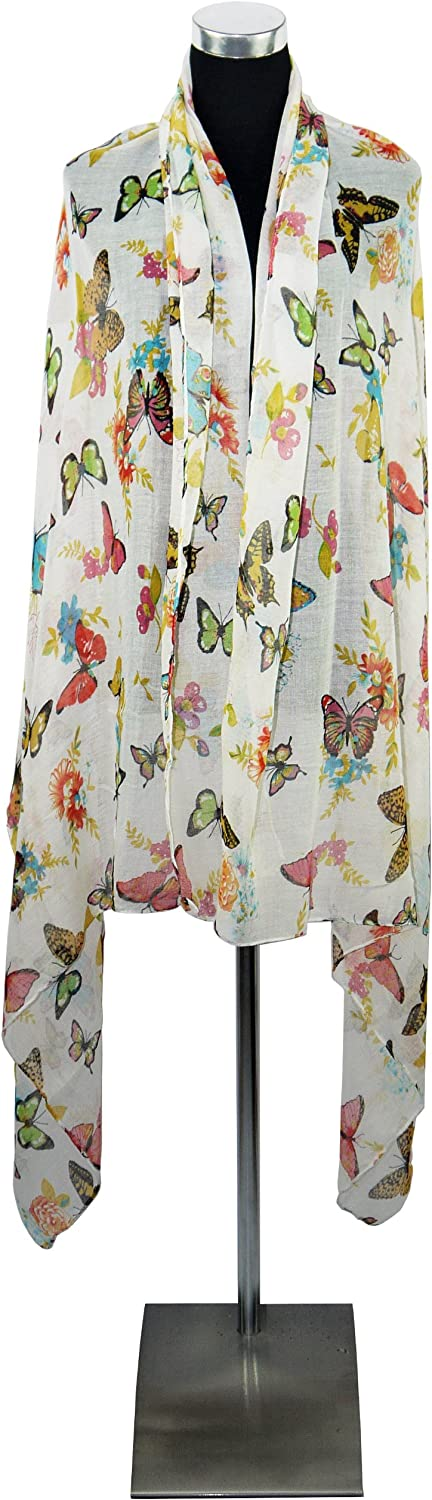 Sarong or Coverup Large WHite Butterfly Design Chiffon Scarf