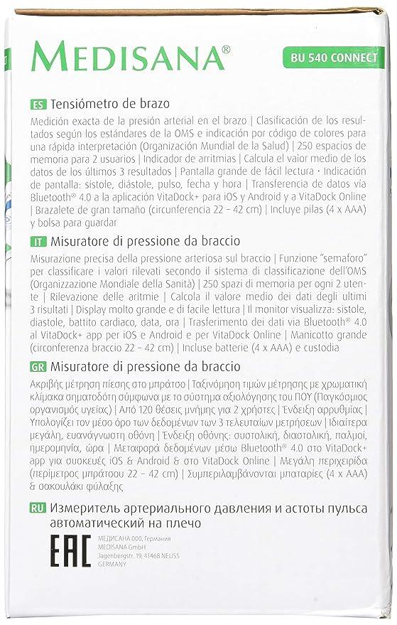 Medisana BU 540 Connect Antebrazo 2 Usuario(s): Amazon.es ...