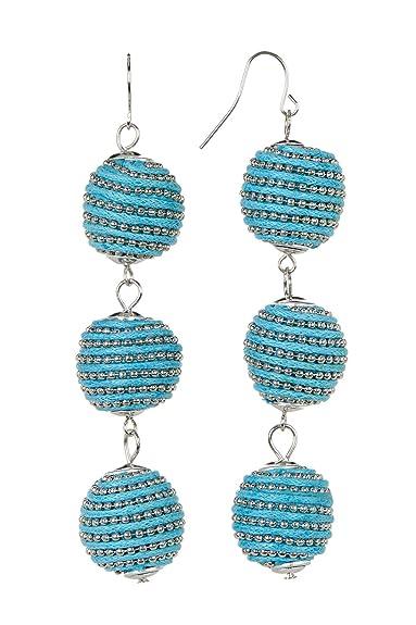 ce01466f2d362e Amazon.com: 3 Ball Drop Long Earrings Turquoise Blue Tassel Silver ...