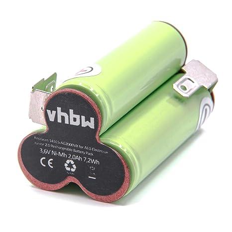 vhbw NiMH batería 2000mAh (3.6V) para aspiradora robot autónomo de limpieza AEG/